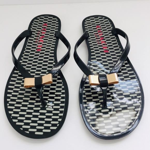 896de6b7c3b88e Coach Shoes - Coach Landon Jelly Flip Flop Gold Bow Black White